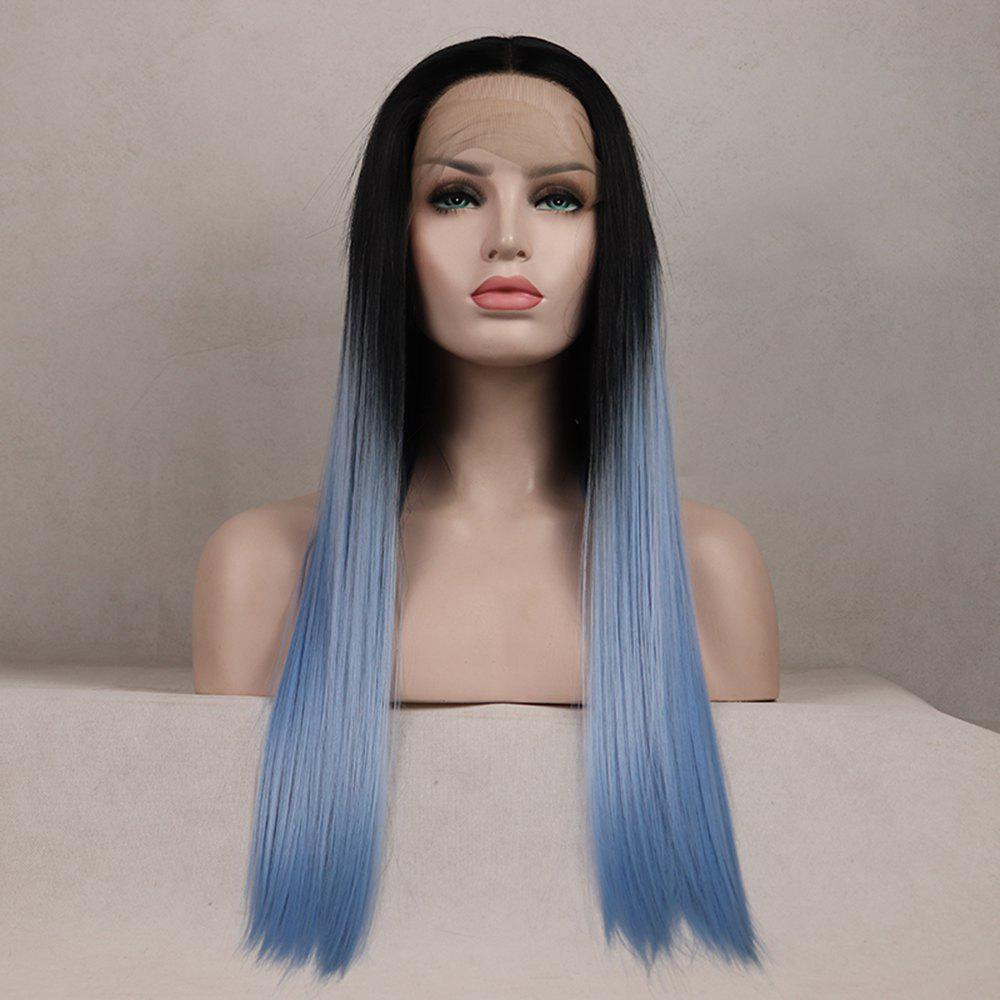 Color Light Blue Long Straight Ombre Black Root Heat Resistant Synthetic Hair Lace Front Wigs for Women - LIGHT BLUE 16INCH