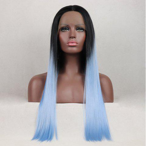 Tone Color Black Root Light Blue Color Long Straight Heat Resistant Synthetic Hair Lace Front Wigs for Women - LIGHT BLUE 14INCH