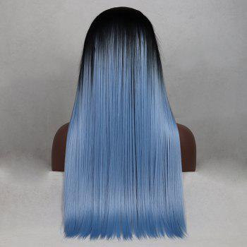 Tone Color Black Root Light Blue Color Long Straight Heat Resistant Synthetic Hair Lace Front Wigs for Women - LIGHT BLUE 24INCH