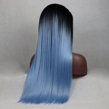 Tone Color Black Root Light Blue Color Long Straight Heat Resistant Synthetic Hair Lace Front Wigs for Women - LIGHT BLUE 22INCH