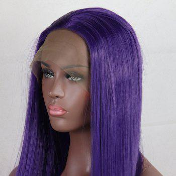 Purple Color Long Straight Style Heat Resistant Synthetic Hair Lace Front Wigs for Women - PURPLE 22INCH