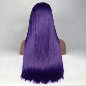 Purple Color Long Straight Style Heat Resistant Synthetic Hair Lace Front Wigs for Women - PURPLE 14INCH