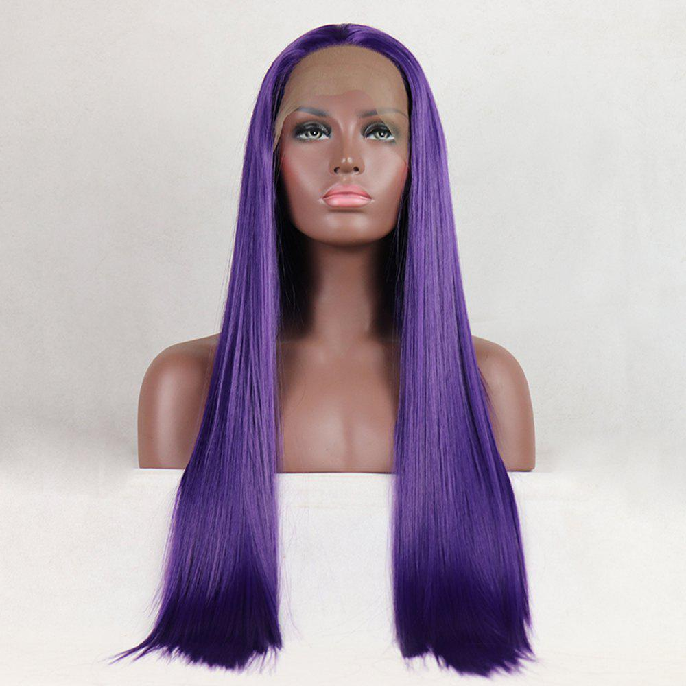 Purple Color Long Straight Style Heat Resistant Synthetic Hair Lace Front Wigs for Women - PURPLE 18INCH