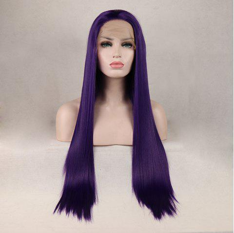 Purple Color Long Straight Heat Resistant Synthetic Hair Lace Front Wigs for Women - PURPLE 18INCH