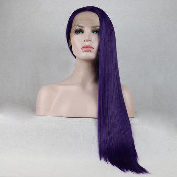 Purple Color Long Straight Heat Resistant Synthetic Hair Lace Front Wigs for Women - PURPLE 20INCH