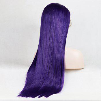 Purple Color Long Straight Heat Resistant Synthetic Hair Lace Front Wigs for Women - PURPLE 14INCH