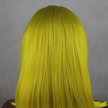 Light Yellow Bob Style Heat Resistant Synthetic Hair Lace Front Wigs for Women - LIGHT YELLOW 16INCH