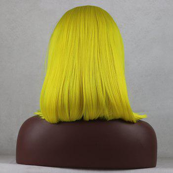 Light Yellow Bob Style Heat Resistant Synthetic Hair Lace Front Wigs for Women - LIGHT YELLOW 12INCH