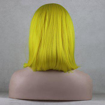 Bob Wavy Style Light Yellow Heat Resistant Synthetic Hair Lace Front Wigs for Women - LIGHT YELLOW 16INCH