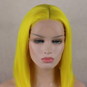 Bob Wavy Style Light Yellow Heat Resistant Synthetic Hair Lace Front Wigs for Women - LIGHT YELLOW 14INCH
