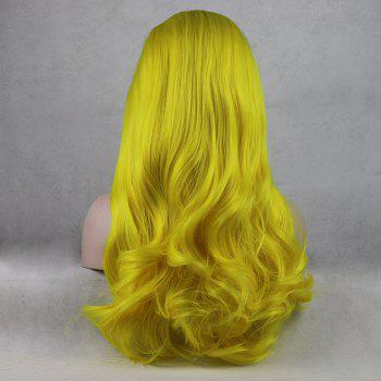 Light Yellow Long Curly Wavy Heat Resistant Synthetic Hair Lace Front Wigs for Women - YELLOW 18INCH