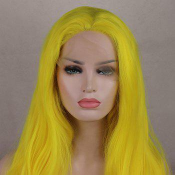 Light Yellow Long Curly Wavy Heat Resistant Synthetic Hair Lace Front Wigs for Women - YELLOW 24INCH