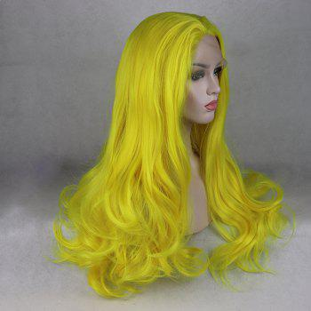 Light Yellow Long Curly Wavy Heat Resistant Synthetic Hair Lace Front Wigs for Women - YELLOW 22INCH