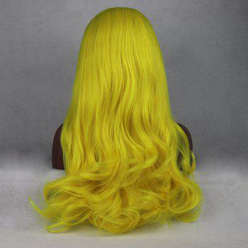 Light Yellow Color Long Curly Style Heat Resistant Synthetic Hair Lace Front Wigs for Women - YELLOW 18INCH