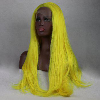 Light Yellow Long Natural Straight Heat Resistant Synthetic Hair Lace Front Wigs for Women - YELLOW 24INCH