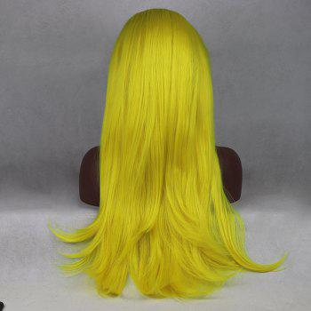 Light Yellow Long Natural Straight Heat Resistant Synthetic Hair Lace Front Wigs for Women - YELLOW 20INCH