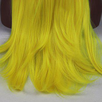 Light Yellow Long Natural Straight Heat Resistant Synthetic Hair Lace Front Wigs for Women - YELLOW 16INCH
