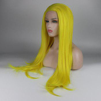 Long Hair Yellow Color Straight Style Heat Resistant Synthetic Lace Front Wigs for Women - YELLOW 24INCH