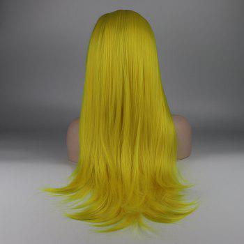 Long Hair Yellow Color Straight Style Heat Resistant Synthetic Lace Front Wigs for Women - YELLOW 22INCH