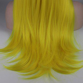 Long Hair Yellow Color Straight Style Heat Resistant Synthetic Lace Front Wigs for Women - YELLOW 18INCH