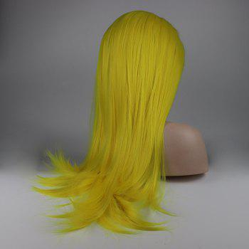 Long Hair Yellow Color Straight Style Heat Resistant Synthetic Lace Front Wigs for Women - YELLOW 16INCH