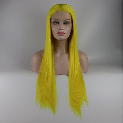 Light Yellow Long Straight Heat Resistant Synthetic Hair Lace Front Wigs for Women - YELLOW 20INCH