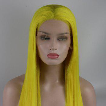 Light Yellow Long Straight Heat Resistant Synthetic Hair Lace Front Wigs for Women - YELLOW 24INCH