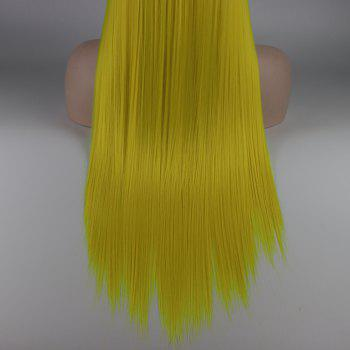 Light Yellow Long Straight Heat Resistant Synthetic Hair Lace Front Wigs for Women - YELLOW 22INCH