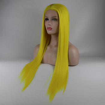 Light Yellow Long Straight Heat Resistant Synthetic Hair Lace Front Wigs for Women - YELLOW 18INCH