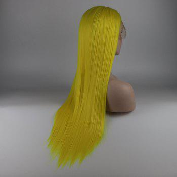 Light Yellow Long Straight Heat Resistant Synthetic Hair Lace Front Wigs for Women - YELLOW 16INCH