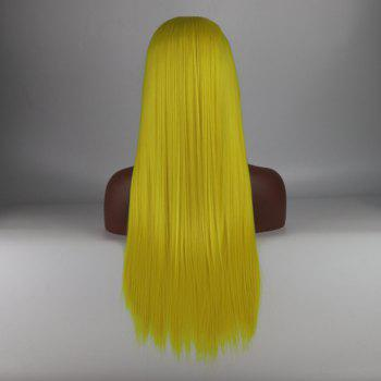 Yellow Long Straight Heat Resistant Synthetic Hair Lace Front Wigs for Women - YELLOW 24INCH