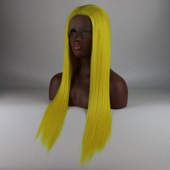 Yellow Long Straight Heat Resistant Synthetic Hair Lace Front Wigs for Women - YELLOW 20INCH