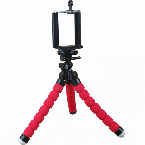 Mini Tripod Flexible Octopus Holder Stand Mount for iPhone Samsung Phone Camera - RED