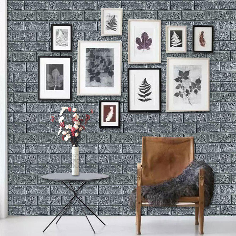 3D Wood Grain Foam Self-adhesive Wallpaper Bumper Wall Sticker - SILVER GRAY