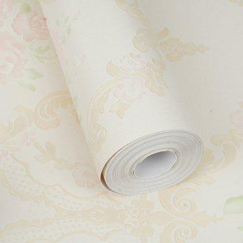 PVC Fashion Pastoral Printing Decorative Wallpaper - LIGHT YELLOW 1000X53CM
