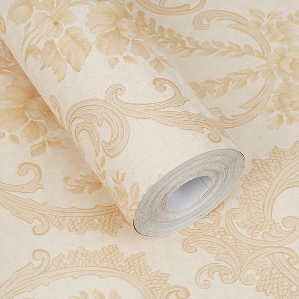 PVC Fashion Pastoral Printing Decorative Wallpaper - BEIGE 1000X53CM