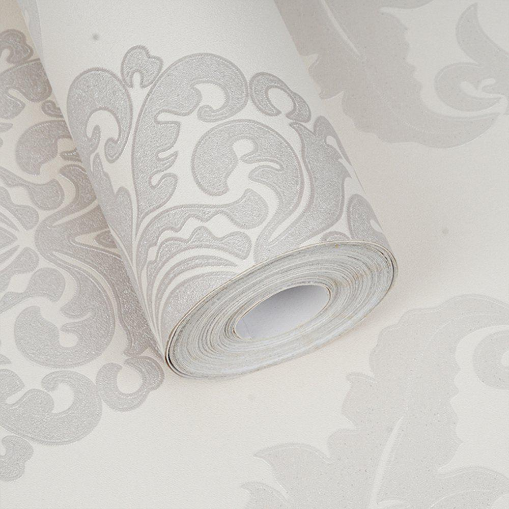 PVC Fashion Pastoral Printing Decorative Wallpaper - WHITE 1000X53CM