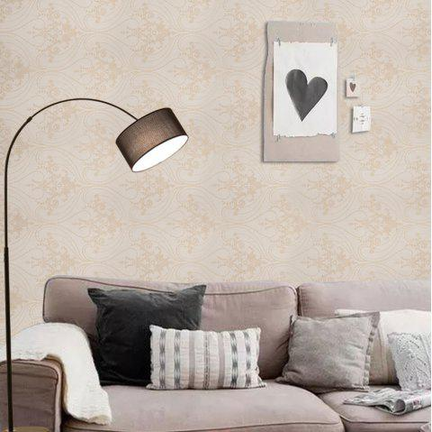 PVC Self-adhesive Elegant Printing Home Decorating Wallpaper - LIGHT YELLOW 1000X53CM