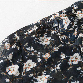 Women's Bow Floral Print Long-Sleeved Shirt - FLORAL S