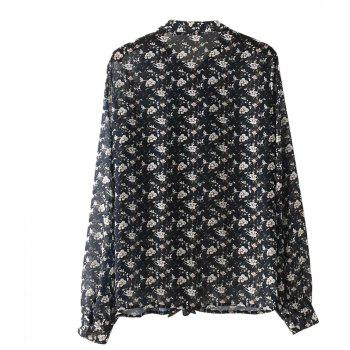 Women's Bow Floral Print Long-Sleeved Shirt - FLORAL M