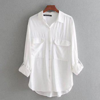 Women's Pocket Basic Long-Sleeved Shirt - WHITE S