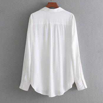 Women's Pocket Basic Long-Sleeved Shirt - WHITE M