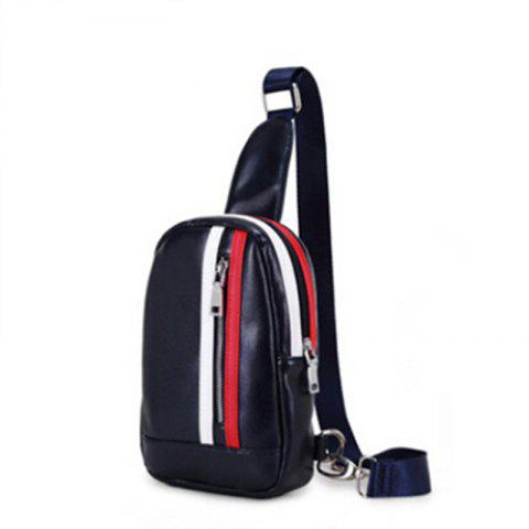 Korean Fashion Crossbody Bag Men's Small Chest Pack Waist Bag Sports Unbalance Backpack - BLUE