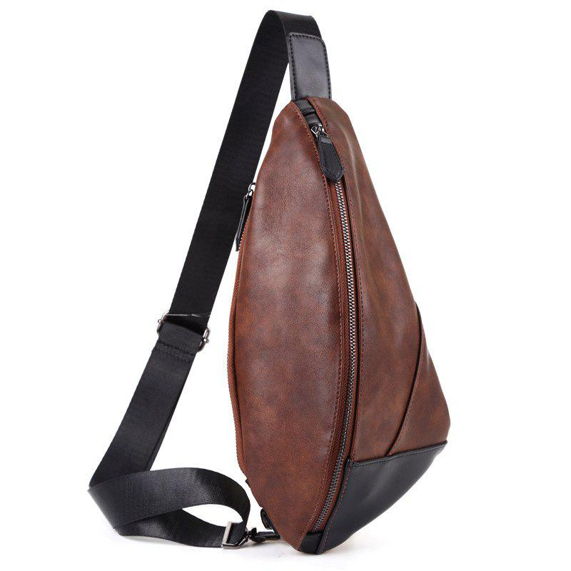 Large Capacity Soft Leather Men's Unbalance Backpack Chest Pack Crossbody Bag - BROWN