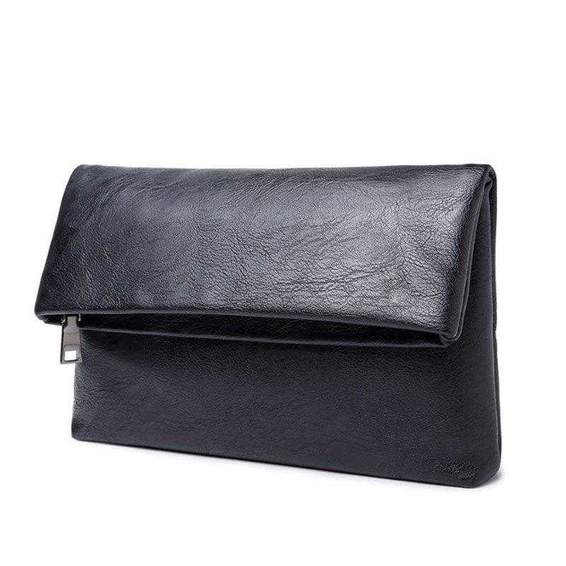 Korean Men's Handbag Wallet Clutch Fashion Pouch Business Phone Bag with Wristlet - BLACK