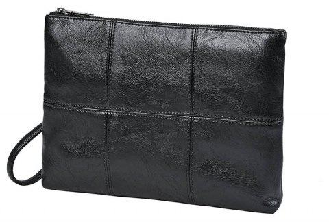 Men's Leather Handbag Fashion Hand Caught Clutch Business Casual Messenger Bag with Wristlet Korean Pouch for iPad - BLACK