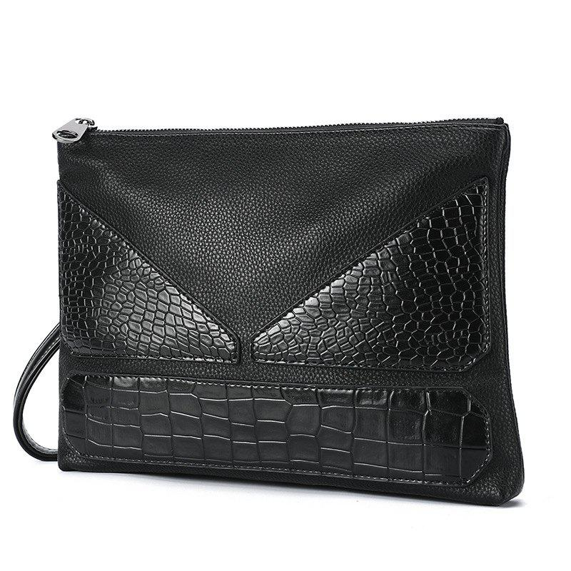 Fashion Handbag Korean Hand Caught Bag Alligator Pattern Monster Clutch for Men - BLACK