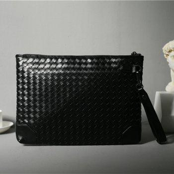 New Knitting Handbag Korean Casual Bag Fashion Messenger Bag Business Wallet - BLACK