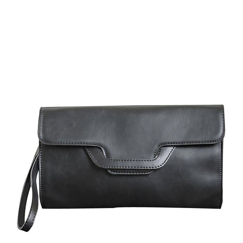 Men's Handbag Single Shoulder Hand Caught Wrist Bag - BLACK