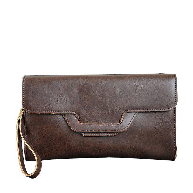 Men's Handbag Single Shoulder Hand Caught Wrist Bag - BROWNIE